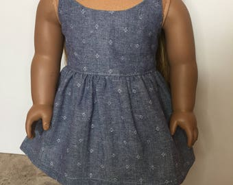 Chambray Dress made to fit 18 inch dolls such as American Girl dolls