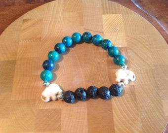 Aqua and Lava Bead Elephant Bracelet