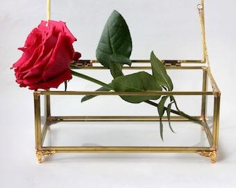 Gold Glass Box, Rectangular Glass Box, Glass Box, Jewellery Box, Geometric Glass Box, Glass Jewellery Box, Geometric Box , Keepsake Box