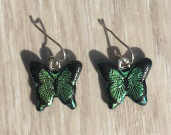 Dichroic Fused Glass Earrings - Green Butterfly Laser Engraved Etched Earrings with Solid Sterling Ear Wires