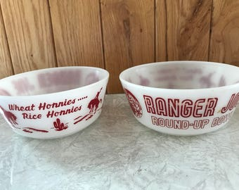 Vintage Ranger Joe bowls by Hazel Atlas