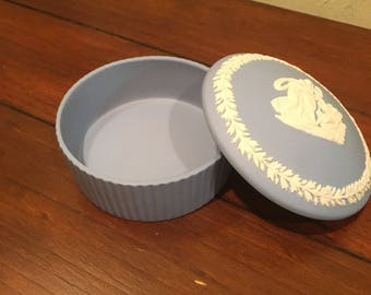 Wedgwood Pottery blue round container with lid