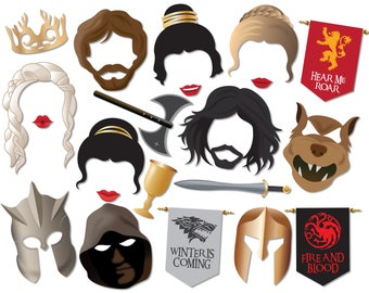 Game of Thrones Photo Booth Props, Instant Download Printable Party Props - 0230