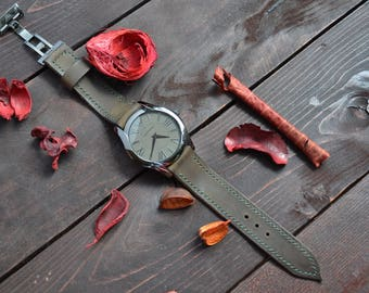 Leather watch strap 20mm.