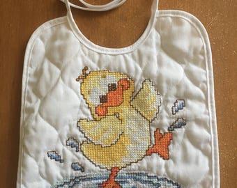 Duck Cross Stitch Bib