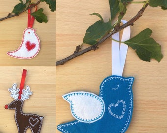 3 x ITH Christmas Tree Decorations. Set of 3. Reindeer & birds. By Pixie Willow Patterns
