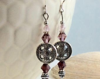Silver Purple and Rose Czech Crystal Drop/Dangle Earrings with .925 Silver Wires