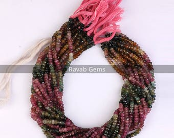 13 Inch Multi Tourmaline Faceted Beads AAA Quality Natural Tourmaline Faceted Rondelle Beads 4mm to 5mm Tourmaline beads