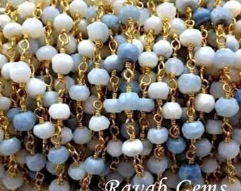 5 feet - Natural Blue Opal Gold Plated Rosary Style Chain - Beaded Chain 3-4mm Natural Blue Opal Beads - Sold in Wholesale