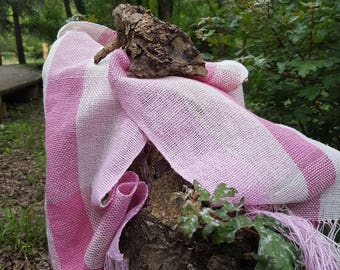 Organic cotton pink scarf and hand woven silver threads