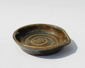 Handmade Stoneware Ladle/spoon Rest Cinnamon with hints of blue and green