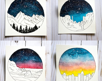 Set of 4 original landscape watercolor paintings - galaxy, sunset, night sky, skyline, desert, cactus, mountains, forest, sea, ocean
