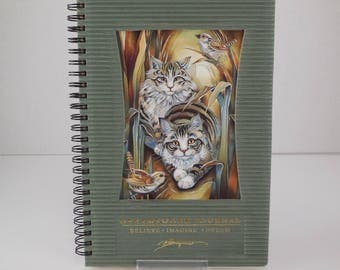 Vintage Jody Bergsma Dreamswork Journal Striped Kitty Cats Birds Print