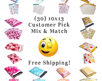"""FREE SHIPPING! (30 Pack) 10x13"""" Customer Pick Mix & Match Designer Poly Mailers"""