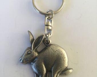 Running Hare 3D Pewter Keyring Handmade In UK