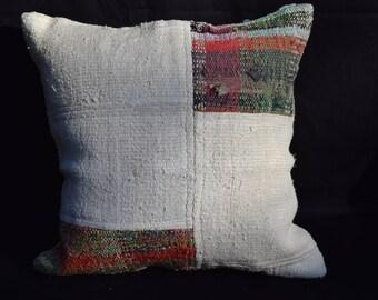 18 INC handwoven kilim pillow white color patchwork kilim pillow sofa pillow bed pillow couch pillow floor pillow cover hemp kilim pillow