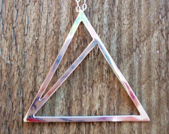 Sterling silver triangle geometric pendant/necklace