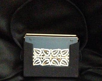Ornate Vintage 1950's VOLUPTE SOPHISTICASE in Black Moire Carrying Case - Compact / Evening Purse