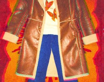 70's Faux Leather Fur Trimmed Jacket