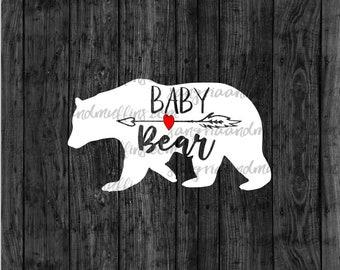 Baby Bear with red heart and arrow decal- car decal - window decal - laptop decal - tablet decal - baby bear, boho mama bear, arrow decal