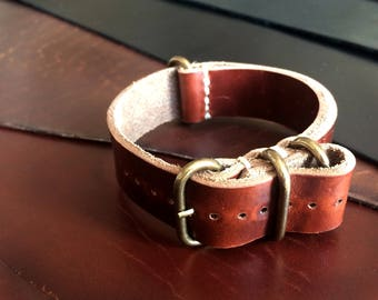 Leather Nato Strap | Horween leather nato strap | Tan | Real Bronze Hardware | Horween Leather Zulu Strap