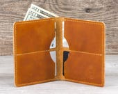 Mens Fatboy Wallet // Full Grain Horween Leather // Veg Tanned // Handmade in USA // Groomsmen Gift // Gifts for Him // Saddle Tan