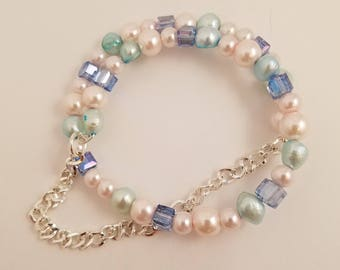 Fresh Water Cultured Pearls, Multi Strand, with Chain, Faux Pearls and Crystals, Memory Wire Bracelet, One Size Fits Most