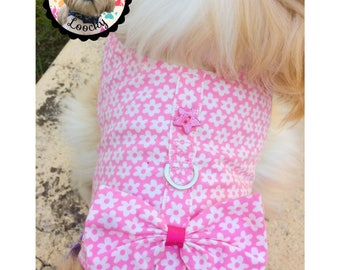 HARNESS for dog cotton fabric white flower for shih tzu, bichon, grand york circumference of chest: 41 - 46 gift for dog / harness