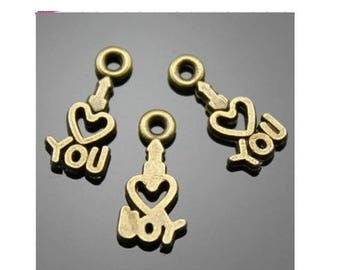 "SET of 10 minimalist charms ""I Love You"" ""I love you"" heart bronze (T50)"