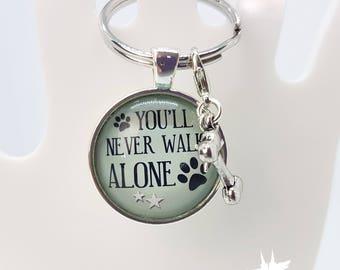 Dog dog Keychain, Keychain, you will never walk alone, gift for dog owners, dog keychain