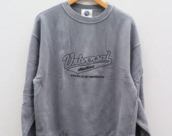 Vintage UNIVERSAL STUDIO Hollywood Gray Sweater Sweatshirt Size L