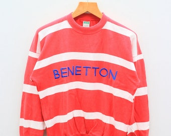 Vintage BENETTON Striped Red And White Sweater Sweatshirt