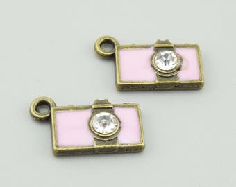10pcs 15x9mm Pink Camera Charm Pendants LJ159
