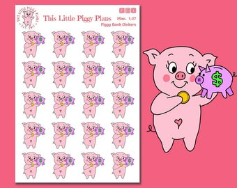 Piggy Bank Oinkers - Piggy Bank Planner Stickers - Budgeting Stickers - Save Money Stickers - No Spend - Pay Day Stickers - [Misc 1-27]