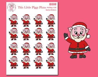 Santa Oinkers - Santa Planner Stickers - Christmas Planner Stickers - Santa Claus - Holiday Planner Stickers - Santa - [Holiday 1-09]