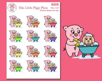 Oinkers Bathes the Dog - Pet Care Planner Stickers - Dog Bath Stickers - Dog Planner Stickers - Puppy Care - Bath Stickers - [Misc. 1-65]