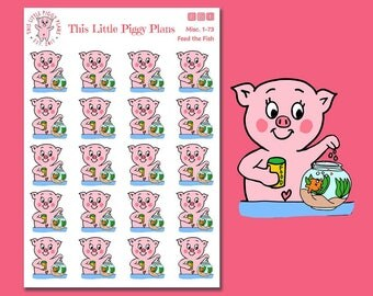 Feed the Fish Planner Stickers - Pet Stickers - Fish Stickers - Pet Care - Pet Food - Pig Stickers - This Little Piggy [Misc. 1-73]