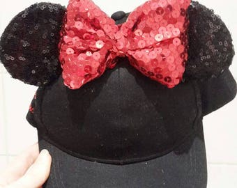 Mickey sequin ears hat disney disneyland mouse ears kids snap back.