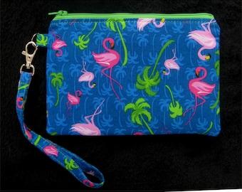 Flamingo Wristlet Purse - Wristlet Clutch - Wristlet Pouch - Wristlet Wallet - Clutch Purse - Vegan Bag - Zipper Purse - Clutch