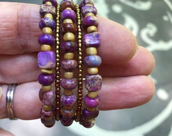 Agate stone and bead wrap bracelet