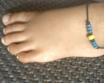 "Baby Girl's Ankle Bracelet,Wooden Beads Anklet jewelry,Blue Yellow Bead Anklet,Handmade Anklet,Summer Anklet,Gift For Friend,""FREE SHIPPING"""