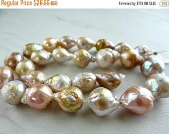 53% off Weekend Sale... Creamy Beige, mauve and gold baroque freshwater pearls/13x10-17x11mm/7.5 inch strand
