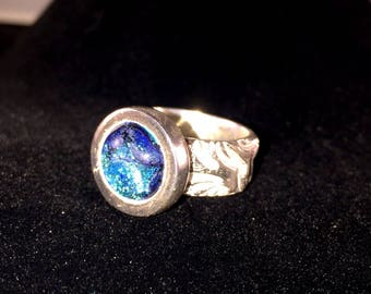 Silver Ring with Blue Dichroic Glass Cabochon