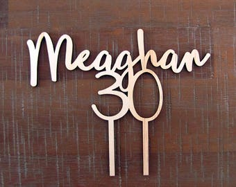 30th BIRTHDAY Cake Topper, wooden 30 cake topper for a thirtieth birthday