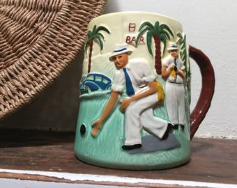 Large 1950s Diana lawn bowls mug Model no S25 Made in Australia Hand painted Vintage mugs Kitsch decor Collectibles