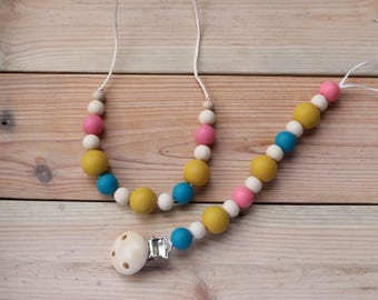 Teething nacklace,nursing necklace, pacifier holder, dummychain, gift for mum, sensory necklace
