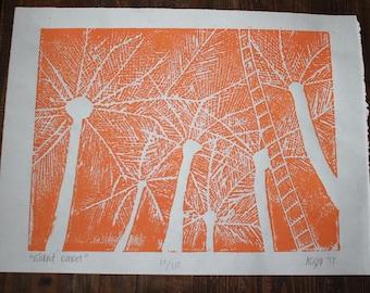Palm Trees at Sunset Print - Orange 1