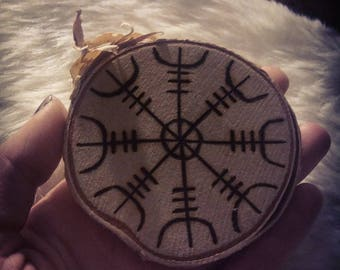 Small Helm of Awe / Terror (Ægishjálmr) Norse Viking Rune sigil stave on Birch Wood