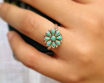 Sterling silver turquoise ring/boho turquoise ring/navajo ring/December birthstone ring/promise ring/flower ring/bohemian ring/stacklable