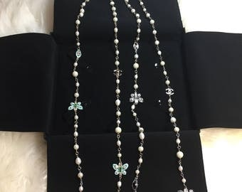"""New gorgeous butterfly pearl necklace 42"""" long chanel inspired"""